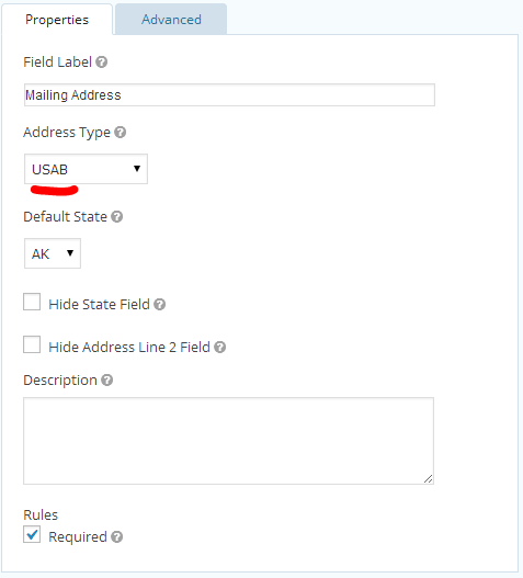 Gravity Forms State Abbreviations in Form Editor Settings